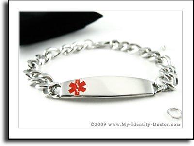 Mens Medical Identification, Thick Alert ID Bracelet