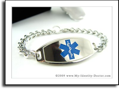 Kids Medical Bracelets, Curb Chain, Blue Emblem