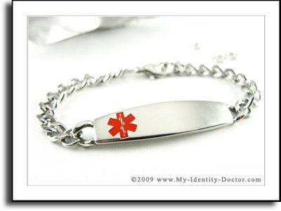 Medical Identification, Curb Chain, Alert ID Bracelet