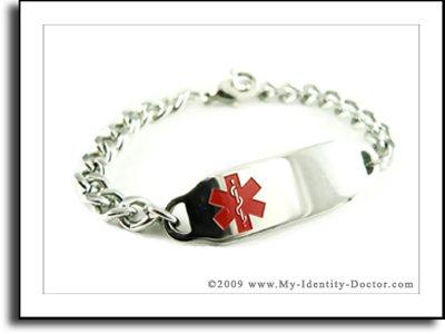 Kids Steel Medical Alert ID Charm Bracelet - Engraved