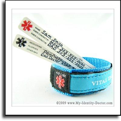 Kids Child, Adjustable Medical Alert ID Bracelet Blue