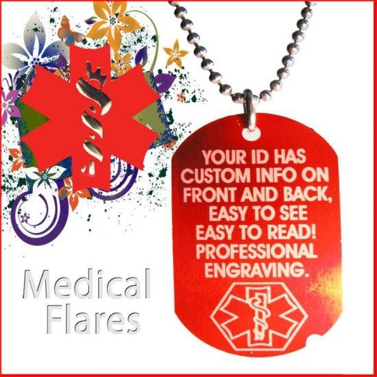 CUSTOM ENGRAVED Medical Alert ID Red DOG Tag Necklace