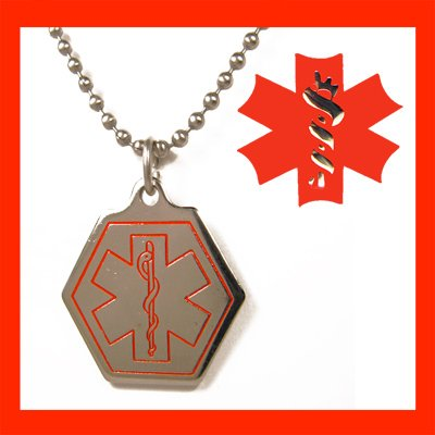 Engraved Stainless Steel Medical Alert ID Tag Necklace
