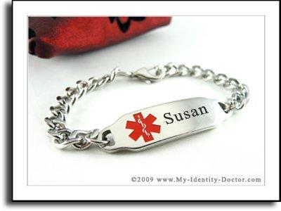 Womens Medical Alert Bracelet, Curb Chain, Medical ID