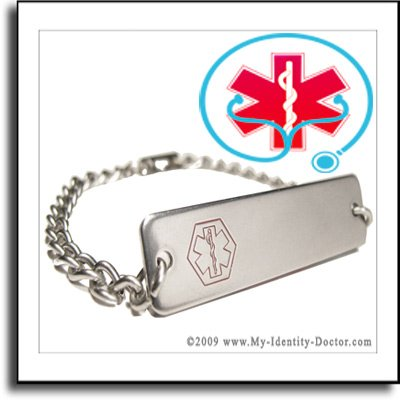 Coumadin Medical ID Alert Tag Bracelet - FREE ENGRAVING