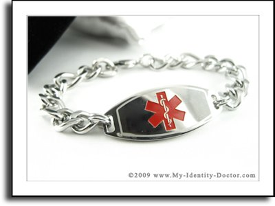 Men's, Medical ID, Thick Steel Curb Chain, Red Emblem