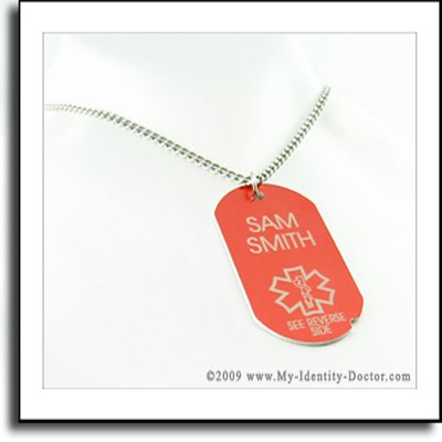 Red I.D. Dog Tag Medical Alert ID Necklace Pendant