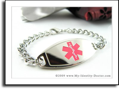 Womens Medical ID Bracelet - Curb Chain, Pink Emblem