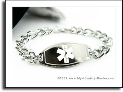 Men's, Medical ID, Thick Steel Curb Chain, White Emblem