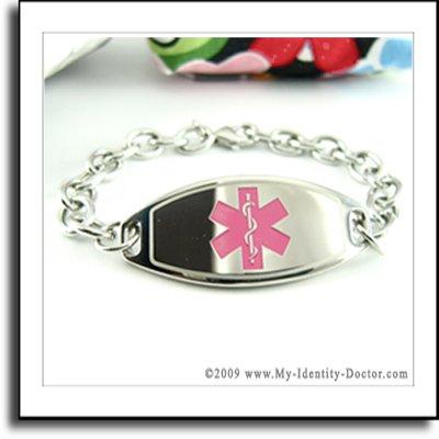Ladies Womens, Medical Bracelet Alert ID Tag, Engraved