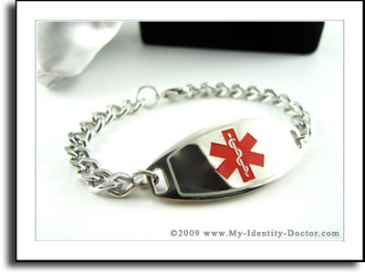 Men's Medical Bracelet, Curb Steel Chain, Red Emblem