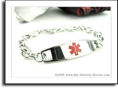 Ladies Medical Alert ID Bracelet, O-LINK Style Chain