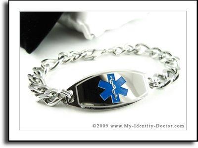 Men's, Medical ID, Thick Steel Curb Chain, Blue Emblem