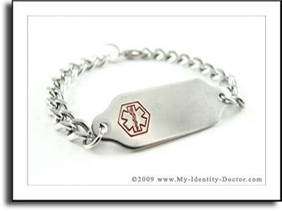 Medical Alert ID, Steel Curb Chain Bracelet, Flat Style