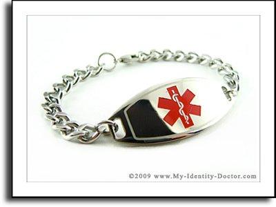 Kids Medical Bracelets, Curb Chain, Red Emblem