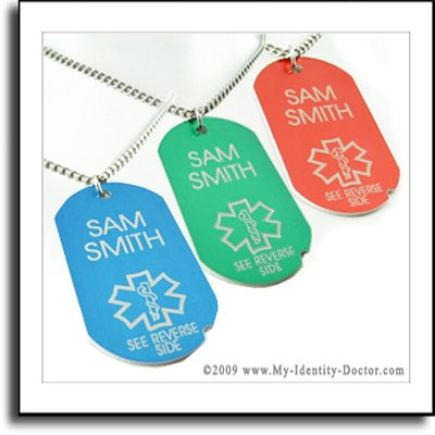 One Diabetes Diabetic Type Medical ID Dog Tag Necklace