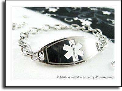Women's Medical Bracelet - O-LINK Chain, White Emblem
