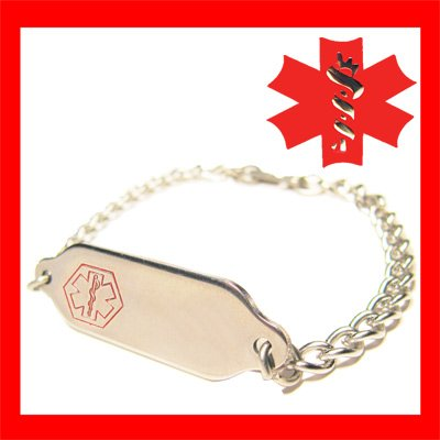 Medical Alert ID Tag Charm Bracelet Jewelry ENGRAVED