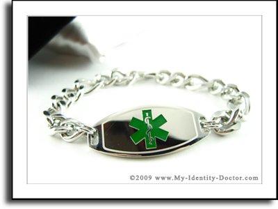 Men's Medical ID, Thick Steel Curb Chain, Green Emblem