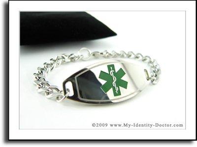 Womens Medical ID Bracelet - Curb Chain, Green Emblem