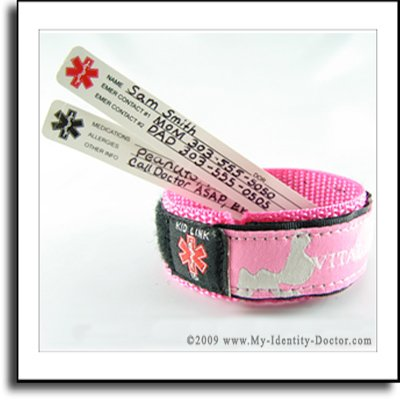 Kids Child, Adjustable Medical Alert ID Bracelet Pink