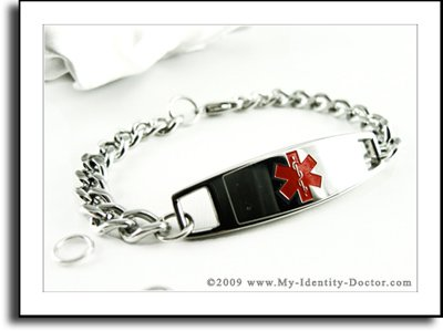 Ladies Medical Alert ID Bracelet, Curb Style Chain