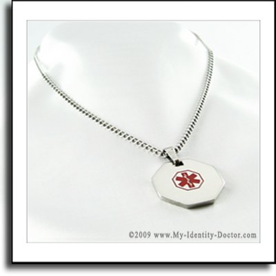 Mens Medical ID Alert Tag Necklace Pendant - Engraved