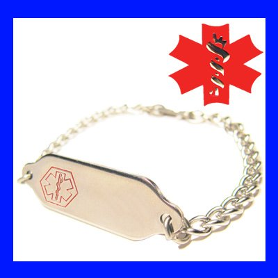 Engraved Free Child Medical Alert ID Tag Charm Bracelet
