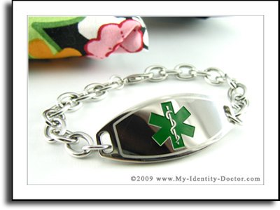 Women's Medical Bracelet - O-LINK Chain, Green Emblem