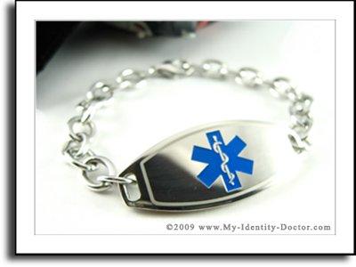Women's Medical Bracelet - O-LINK Chain, Blue Emblem