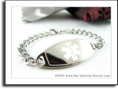 Men's Medical Bracelet, Curb Steel Chain, White Emblem
