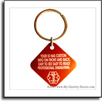 Square Metal Red Medical Tag Keychain Engraved Free