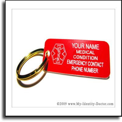 Red Medical Alert ID Keychain, Medic Dog Tag, Engraved