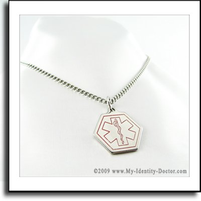 Medical ID Necklace, Pendant Diabetic Supplies Engraved