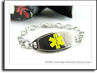 Women's Medical Bracelet - O-LINK Chain, Yellow Emblem