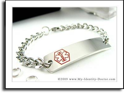 Free Custom Engraved - Medical Alert ID Charm Bracelet