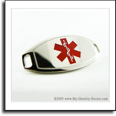 2mm Polished Steel Medical ID Plate, Red Smbl, Engraved