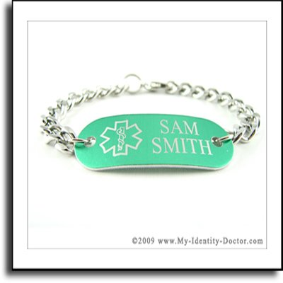 Green Aluminum Medical ID Bracelet Curb Chain, Engraved
