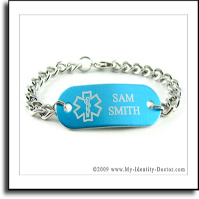 Blue Medical ID Alert Bracelet, Curb Chain, Engraved