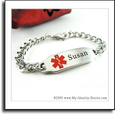 Engraved Medical Alert ID Bracelet, Diabetes Supplies