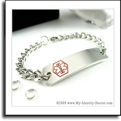 CUSTOM Stainless Steel Medical Alert ID Tag Bracelet