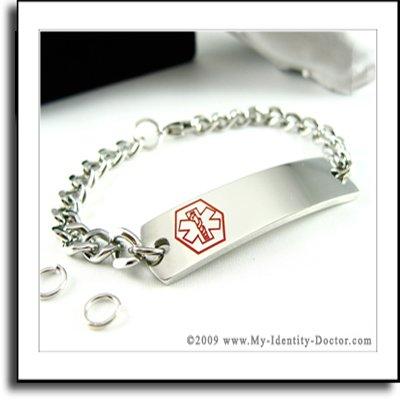 CUSTOM Non-Allergenic Medical Alert ID Bracelet Jewelry