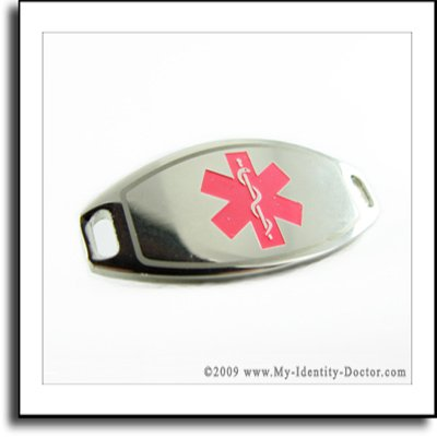 2mm Polished Steel Medical ID Plate, Pink Smbl Engraved