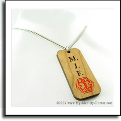 Medical Alert Necklace, Wood Dog Tag, Custom Engraved
