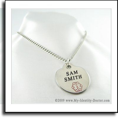 Custom Engraved Medical ID Tag Necklace, Diabetic Type