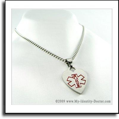 Engraved Medical Alert Necklace Pendant, Asthma Inhaler