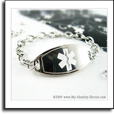 Custom Engraved - Diabetes Medical Alert Charm Bracelet