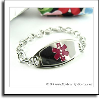 Custom Engraved Diabetes Type Medical Alert ID Bracelet