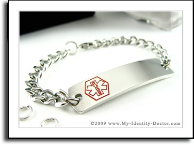 Men's Medical Alert ID Bracelet, Steel Curb Chain