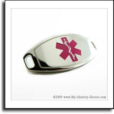 2mm Polished Steel Medical ID Plate Purple Symbol